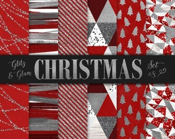 Red and Silver Christmas Paper / Brush Strokes Digital Paper / Silver Christmas Trees / Silver Geometric Christmas Scrapbook / Triangles