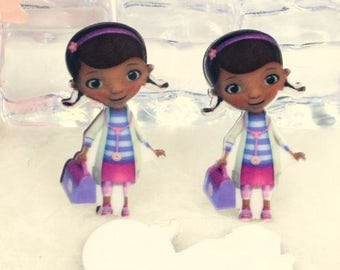 4 pcs. DOC MCSTUFFINS flatback resins Hair bow centers. Huge! Stunning!