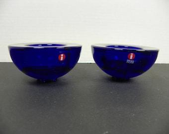 Iittala Cobalt Blue Ballo Candlestick Tealight Holders Set of 2  (FREE SHIPPING)