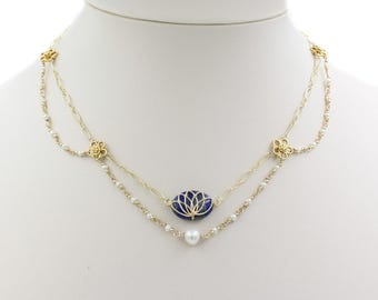 Gold Filled Lapis Necklace with Pearls: Empress' Counsel Necklace | Fancy Necklace |