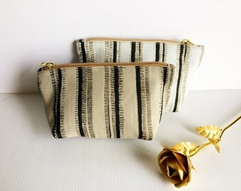 Set of 2 Zipper Pouches, Cosmetic Bag, Pouch Tutoial, Small Makeup Bag, Zipper Pouch, Zipper Pencil,Toiletry Bag, lady accessories, gift