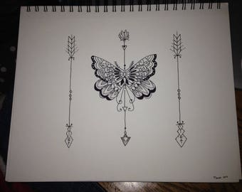Hand Drawn Ink Drawing (Butterfly and Arrows)