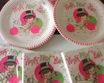 Vintage New Years Eve Paper Plates and Napkins/60's Happy New Year Baby Time Plates and Napkins/Reed Holiday Paper Plates