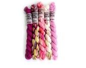 Sock Yarn MINI SET Superwash Merino/Nylon 85/15 4ply Handdyed Yarn: PINKS
