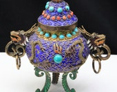 RESERVED - Vintage Chinese Gilt Silver Filigree & Enamel Dragon Incense Burner Turq Coral