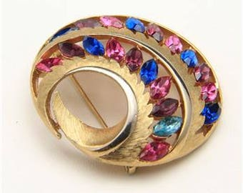 Vintage JJ Gold Tone Metal and Purple Pink Blue Rhinestones Brooch Pin