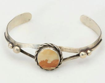 Vintage Picture Jasper Stone Sterling Silver Cuff Bracelet Cream Brown Orange