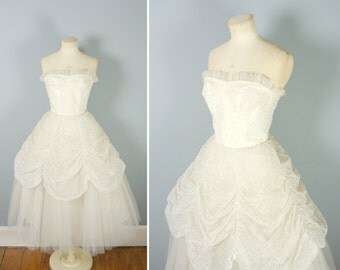 50s EMMA DOMB net prom dress with corset bodice and full skirt - Mid Century bridal / wedding / evening ball gown - xs