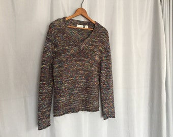 Colorful Sweater Vintage Mohair Blend Women's Small or Medium