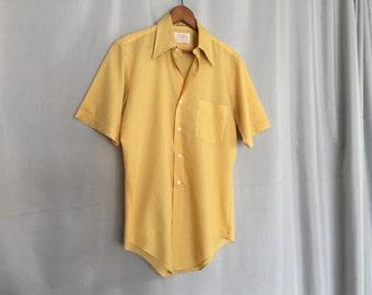 Yellow Shirt Short Sleeve Vintage Men's Small or Medium