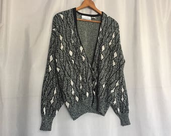 Black White Cardigan Sweater Vintage