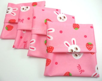 1 Pad wrapper 4 x 4 inch approx for a cloth pad. Bunny print PUL.