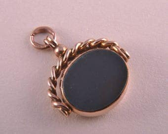 9ct Rose Gold Victorian Swivel With Bloodstone (158s)