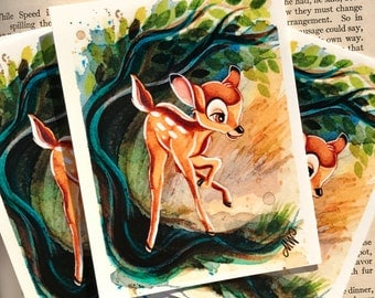 """Little Deer in the Forest 3x4"""" Fine Art Quality Print."""