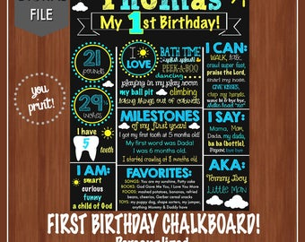 Boy's First Birthday Chalkboard - Our Little Sunshine Chalkboard - DIGITAL - Sunshine - Boy Birthday Sign - First Birthday Chalkboard