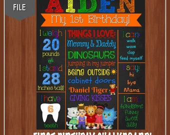 Daniel Tiger 1st Birthday Chalkboard - Digital - Daniel Tiger Poster - Daniel Tiger - Colorful - Boy First Birthday - Girl First Birthday