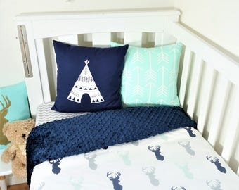 Navy, mint and grey deer nursery set (navy minky backing)
