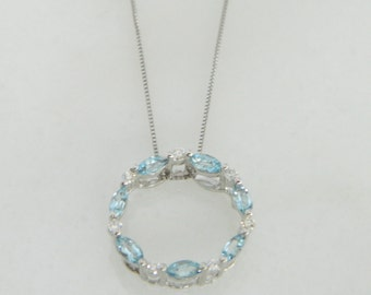Romantic Aquamarine & Diamond Pendant Necklace in 14K White Gold