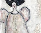 Angel Art, Original Mixed Media on Vintage Linens, 10x10, shabby chic decor, buttons, button art, fabric art, unframed art