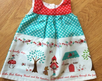 Little red riding hood tunic dress, size 000 (newborn)