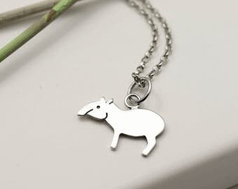 Sterling Silver Tapir Necklace - Sterling Silver Jewellery - Tapir Gift