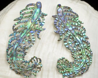 Multicolor PAUA ABALONE SHELL Iridescent Guinea Fowl Feather Earring Pair 2.84 g
