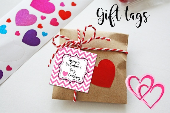 Chevron Valentine Cards - Printable - Valentine's Tags - Chevron Tags - Pink - Gift Tags - Valentine Party