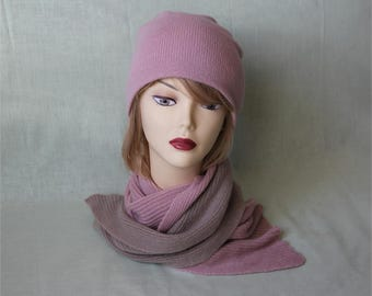 Cashmere hat and scarf vintage rose