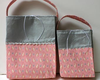 Easter Tote Bag, Set of 2 Gift Tote Bags, Bunny Fabric Tote, Reusuable Wrap, Eco-Friendly,  Hostess Gift.