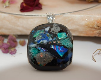 Fused Dichroic Glass Pendant,Black, White,Green,Blue Fused Glass Pendant