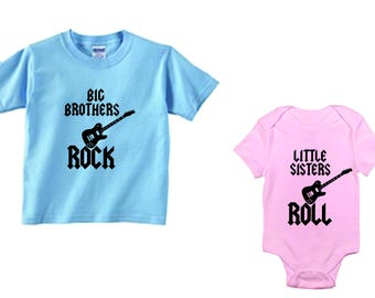 Big brothers rock, little sisters roll, set of 2 brother sister shirt and bodysuit set, size/color choice, gift idea, children's clothng