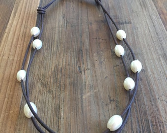 Leather and Pearl double strand necklace (Seagrove Collection)