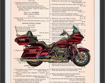 2017 Red Road Glide Ultra Motorcycle Altered Art Color Etching Glow Beautifully Upcycled Vintage Dictionary Page Book Art Print