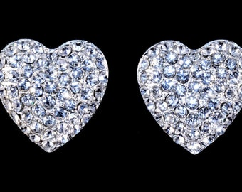 Style # 16379 - Heart Pave Button Post Earrings
