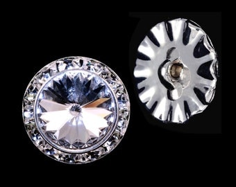 Style # 14997 - 20mm Rondel Button with Crystal Rivoli Center
