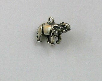 """Sterling Silver 3-D 5/8"""" Elephant Charm"""