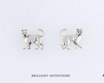 925 Sterling Silver Cat Design, Choice of Charm, Post, Dangle Earrings or Necklace - BI-1634
