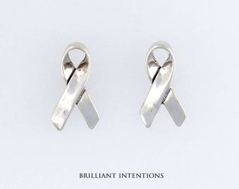 925 Sterling Silver Support Ribbon Design Post or Stud Earrings, Awareness & Fine Jewelry - BI-3366