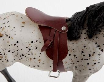 Vintage Miniature Leather Saddle, Tiny English Saddle for 1:9 Scale Model Horse Tack