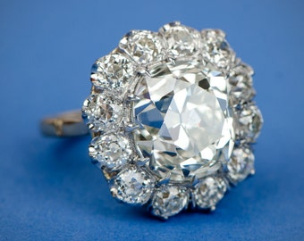 8 Carat Old European Cut Cluster Engagement Ring.