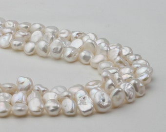 9-10mm Natural White Keshi Pearl Strand, Baroque Pearl Strand necklace