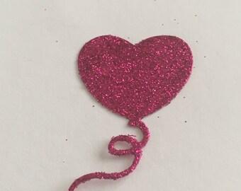 20 die cut balloons - pink glitter