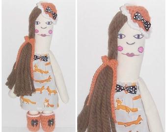 Long Hair Hippie Rag Doll Handmade Crochet Fabric All Stitched Up Raggedy Whimsy Boho Art Doll Hand Painted Folk Art Doll Fox Dress Art Doll