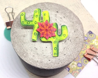 Cactus Lapel Pin, Succulent Jewellery, Shrinky Dink Pin, Shrink Plastic Cactus Brooch, Prickly Pear, Flowering Cacti Badge, Boho Jewellery.