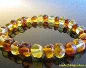 Genuine  Elasticated  Baltic Amber  Bracelet  Anklet   Lemon  Cognac   Colours  Size 18 CM