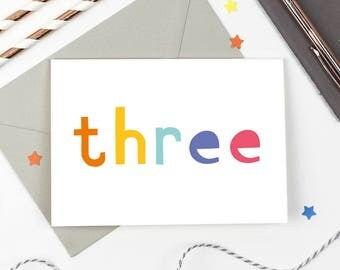 3rd Birthday Card - Number Card - Third Birthday Card