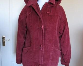 SALE! Vintage Nuage Berry Corduroy Duffle Coat Hooded Size M