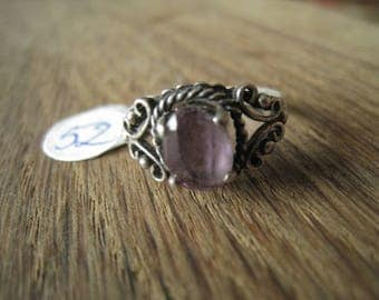 Sterling Silver Purple CZ Braided Abstract Ring Size 7.25 (52)