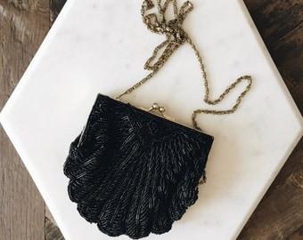 Vintage Small Black Beaded Seashell Shaped Purse Bag Clutch Evening Bag