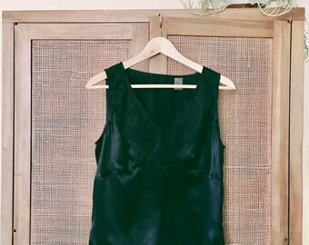 1990's Vintage 100% Silk Black Camisole Nightshirt Tank Sleeveless Top Lace Trim Size 8